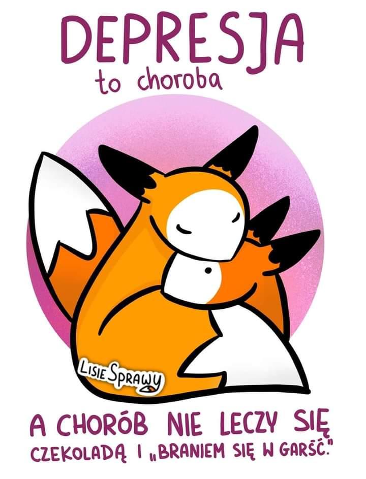 Plakat przedstawia tulące się liski z hasłem Depresja to choroba a chorób nie leczy się czekoladą